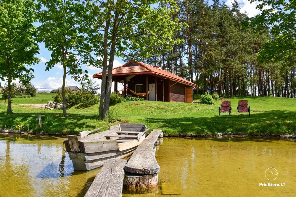 Māja uz ezera krastu: istabas, banketu zāle 30 personām, pirts, kajaki - 21