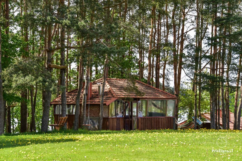 Māja uz ezera krastu: istabas, banketu zāle 30 personām, pirts, kajaki - 19