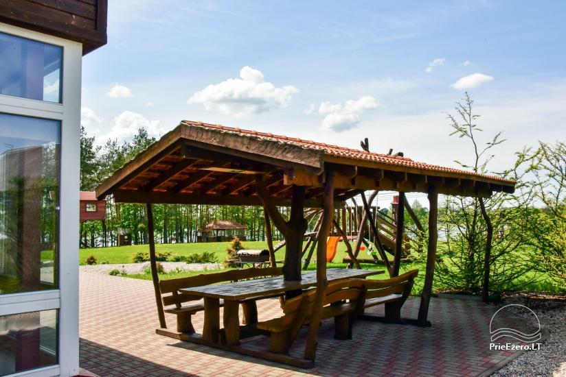Māja uz ezera krastu: istabas, banketu zāle 30 personām, pirts, kajaki - 3